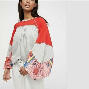 Free People Friday Fever Pattern Mix Top Gray Red